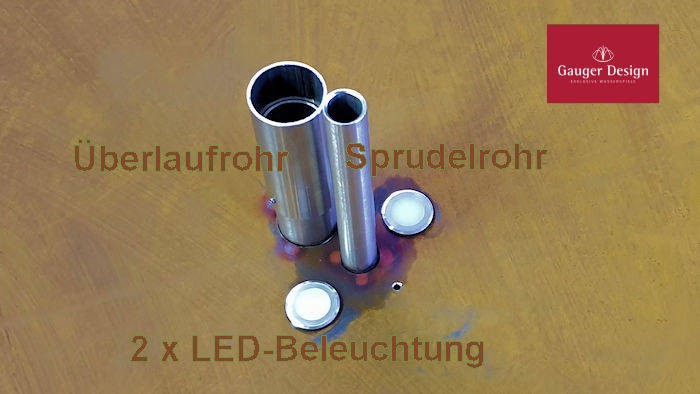 Wasserschale aus Cortenstahl, nicht überlaufend Mit LED- Beleuchtung Modell Naara 80cm