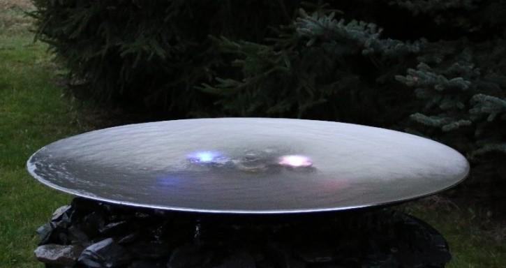 Wasserschalen aus Edelstahl ohne Sprudel , mit Beleuchtung. Modell Die-Stille