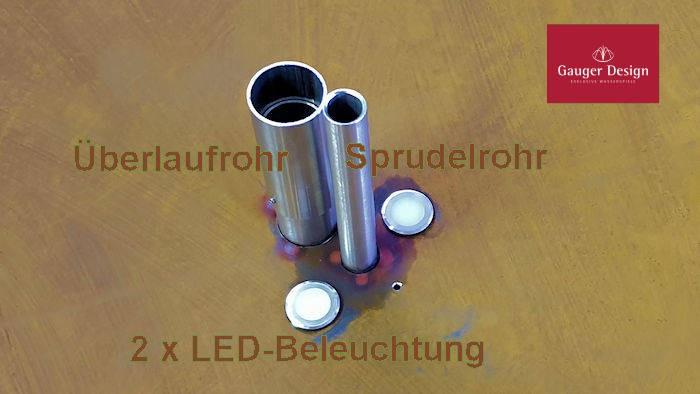 Wasserschale hoch aus Cortenstahl, nicht überlaufend mit Sprudel und LED-Quellbeleuchtung Modell Gaea